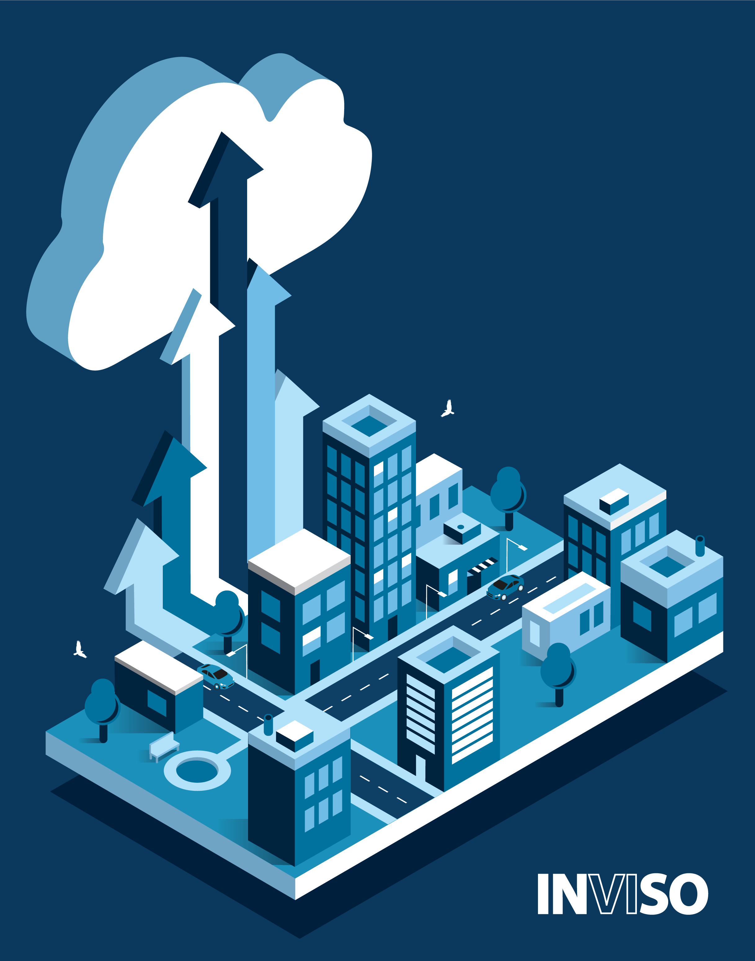 Cloud migration isometric city image