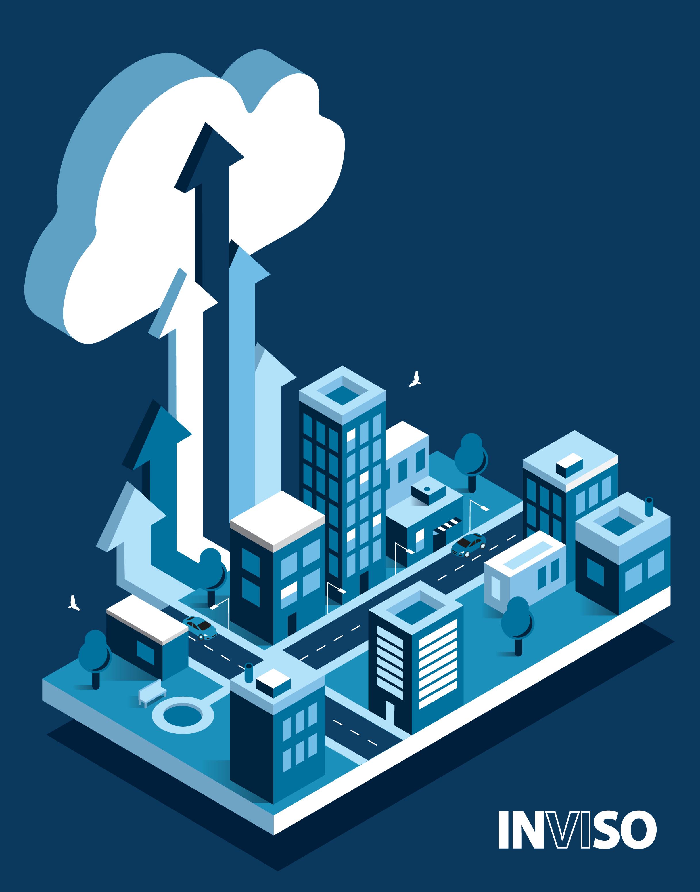 Cloud migration isometric city image